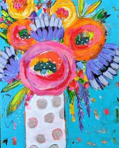 23 Ideas Painting Inspiration Flowers Mixed Media For 2019 Acrylic Painting Flowers, Abstract Flowers, Abstract Flower Paintings, Rose Paintings, Beautiful Paintings, Bright Paintings, Guache, Bright Flowers, Arte Floral