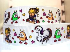 1 Inch Rainbow Brite Inspired Grosgrain Ribbon by ChrisBuildABow, $1.35