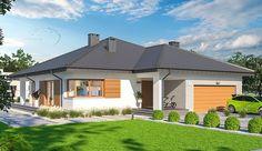 Projekt domu parterowego Fabian 2 o pow. 148,36 m2 z obszernym garażem, z dachem namiotowym, z tarasem, sprawdź! House Plans, Outdoor Structures, Mansions, House Styles, Outdoor Decor, Bingo, Home Decor, New Ideas, Decoration Home
