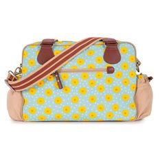 Pink Lining Not So Plain Jane Sunflowers Bag, Blue/Yellow Changing Bag, Blue Bags, Ss 15, Blue Yellow, Green, Louis Vuitton Damier, Shoulder Strap, Sunflowers, Boots