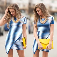 Striped asymmetrical dress #swoonboutique