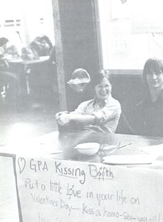GPA (Gay People's Alliance) set up a Valentine's Day kissing booth in the EMU in 1977. From the 1977 Oregana (University of Oregon yearbook). www.CampusAttic.com