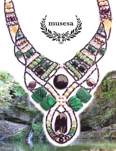 """Andromeda"" Malachite Necklace with Malachite, Black Moss Quartz, Agate, Citrine, Emerald, Green Turquoise, Green Aventurine, Freshwater Pearl, Mother-Pearl Shell, Onyx, Rock Crystal, Explosion Crystal, Tiger-s Eye, Swarowski Crystals. www.musesa.com"