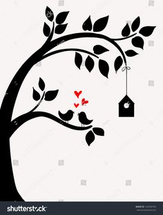 Doodle tree with birds in love and nesting box. a tree Doodle Tree Birds Love Nesting Box Stock Vector (Royalty Free) 142456795 Simple Wall Paintings, Creative Wall Painting, Wall Painting Decor, Fabric Painting, Wall Art, Stencil Designs, Paint Designs, Art Drawings Sketches, Easy Drawings