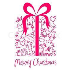 "Stock Vector de ""caja actual de Navidad de Navidad doodles '"
