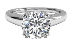Solitaire Diamond Cathedral Tulip Engagement Ring - in 14kt White Gold