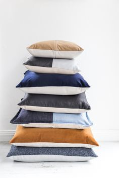 Stack of hand-made cushions from our friends at Nathan+Jac. Designed and made in Melbourne with feather inserts. Contemporary Sofa, Stylish Home Decor, Bed Pillows, Cushions, Timeless Design, Things To Buy, Melbourne, Sofas, Projects