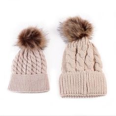 Mommy and me knitting winter beanie cap hat baby bonnet  Beanie BC1022 Khaki set
