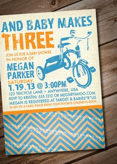 DIY Printable Tricycle Baby Shower Invitation by loralangdesigns, $15.00
