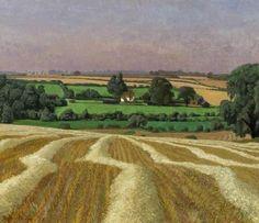 Stubble Field, Thaxted by John Arthur Malcolm Aldridge. Oil on canvas