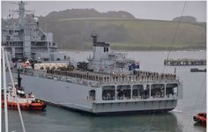 The Royal Fleet Auxiliary Argus leaves for West Africa from Falmouth, Cornwall, 17/10/14