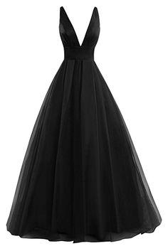 Bess Bridal Women's Tulle Deep V Neck Prom Dress Formal Evening Gowns Dark Green