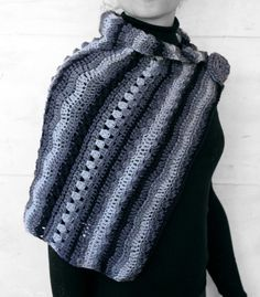 Shawl black and shades of grey by MmeDefargeYarnworks on Etsy