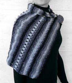 Shawl black and shades of grey by MmeDefargeYarnworks on Etsy