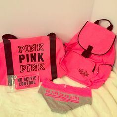 """HUGE VS Pink Bundle This ultimate """"Go Pink Or Go Home"""" bundle is the perfect gift for the Pink girl who can't get enough! This super bundle includes: a bright pink backpack, gym bag, IPhone 6 case, and a pair of XS panties (if that's not your size I can substitute a headband!). All brand new with tags. No trades. Price is firm. ⭐️Note that this awesome set will only be available for a VERY LIMITED TIME as items will also be listed separately and might sell⭐️ PINK Victoria's Secret…"""
