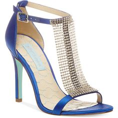Blue by Betsey Johnson Mesh Evening Sandals ❤ liked on Polyvore