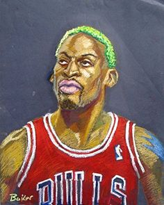"Dennis Rodman Original Art Oil Pastel Lou Baker Chicago Bulls Michael Jordan. 18 by 24"" original art , oil pastel."
