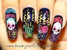 Día de Muertos (Day of the dead) Nails! Stamp plates used:  A03, A30, A44, A57, AT03, BuNa01, GCOCL C02, HD03, HD04, m55, QA6, XL F and XL K (holiday).    Nail polishes used:  Base - OPI Who are You Wearing?  Stamping polishes - Sally Hansen Insta-dri in Silver Sweep, Brisk Blue, Snappy Sorbet, Mint Sprint, Lickety Split Lime, Lively Lilac, Presto Pink, Speedy Sunburst, Lightening and Konad White.