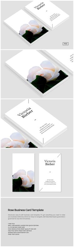 Rose Business Card Template https://creativemarket.com/MeeraG/545606-Rose-Business-Card-Template #design #art #graphicdesign