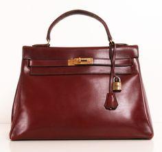 HERMES VINTAGE 'Kelly' bag Burgundy