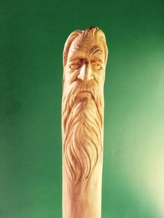 Wood Carving Faces, Dremel Wood Carving, Wood Carving Patterns, Wood Carving Art, Wood Patterns, Wood Art, Handmade Walking Sticks, Hand Carved Walking Sticks, Walking Sticks And Canes