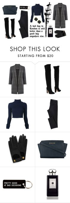 """One day in London"" by zinovyeva ❤ liked on Polyvore featuring Warehouse, Gianvito Rossi, Mulberry, MICHAEL Michael Kors, Various Projects, Jo Malone, black, Blue and London"