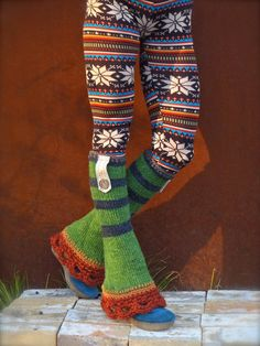 Green flared leg warmers via Etsy #accessories