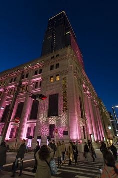 Mitsui Sumitomo Bank, Tokyo, lit up by sakura pink to welcome the April blooming cherry blossoms. Yeah I can believe it!  This kind of thing is normal in Japan! That's why I love it there. Only in Japan, as the saying goes.   -Lily.   #Tokyo #Japan. #onlyinjapan