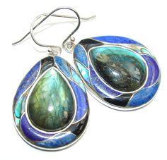$82.95 Secret+Beauty+AAA+Blue+Labradorite+Sterling+Silver+earrings at www.SilverRushStyle.com #earrings #handmade #jewelry #silver #labradorite