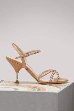af83e120c08a Buy MIU MIU Crystal-detailed sandals online on 24 Sèvres. Shop the latest  trends - Express delivery   free returns. Designer Shoes