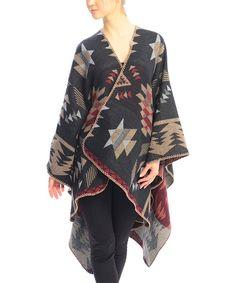 Love this SUE & KRIS Black Geometric Wool-Blend  Sidetail Poncho by SUE & KRIS on #zulily! #zulilyfinds