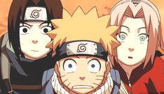 Sasuke, Naruto, and Sakura in anticipation of Kakashi taking off his mask