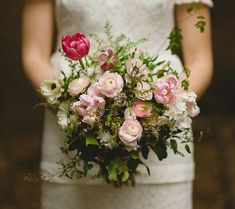 loose pink bouquet with ranunculus