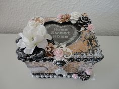 Prima Engraver Altered Teabox with handmade roses