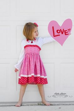 Girl Pink and Red Verona dress  Sizes 26 by KinderKouture on Etsy, $55.00