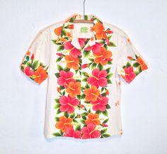 vintage 60's / orange and pink floral / hawaiian shirt / bark cloth / aloha wear / by ui makai / made in hawaii
