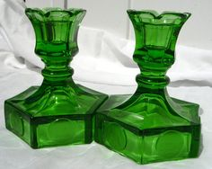 Super rare and super sparkly pair of Fostoria Glass Coin Candle Holders in EMERALD GREEN by AngelGrace on etsy. Green Candle Holders, Fostoria Glass, Vaseline Glass, Glass Candy, Emerald Green, Jade Green, Beautiful Candles, Coin Collecting, Vintage Glassware