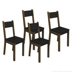 Compre Cadeira Xoou 100% MDF 4 Peças Imbuia/Preto - Madesa em Promoção com ✓ Até 12x ✓ Fretinho