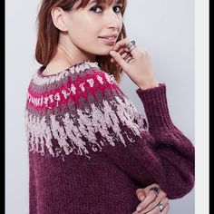 Free People Sweater Beautiful Berry free people pullover sweater with fair isle shoulder print detail .nwt Free People Sweaters