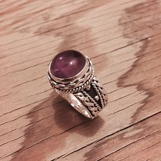 """Sterling Silver & Amethyst Ring Stamped """"925 MA-136"""". Manufacturers ID  This is not a stock photo. The image is of the actual article that is being sold  Size: 10.5  Sterling silver is an alloy of silver containing 92.5% by mass of silver and 7.5% by mass of other metals, usually copper. The sterling silver standard has a minimum millesimal fineness of 925.  All my jewelry is solid sterling silver. I do not plate.   Hand crafted in Taxco, Mexico.  Will ship within 2 days of order. Jewelry…"""