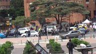 VIDEO Mark Whalberg and Columbian President Juan Manuel Santos film Mile 22 in Bogota