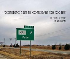 Coincidence is just the conformist term for fate. ― The Edge of Never (J.A. Redmerski)