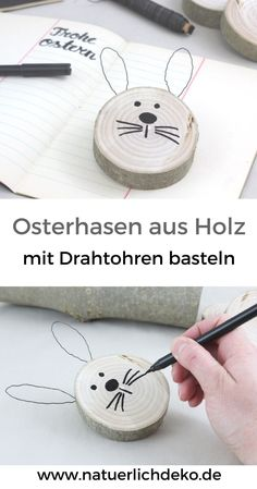 DIY Osterhasen aus Astscheiben - Natürlich Deko Make cute Easter bunnies out of slices of branch with wire ears. Easter decoration, spring decoration, Easter decoration at Easter, decoration wit Pot Mason Diy, Mason Jar Crafts, Diy Cadeau, Diy Ostern, Diy Décoration, Easy Diy, Nature Decor, Easter Crafts, Easter Ideas