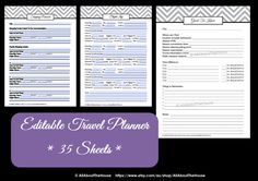EDITABLE Travel Planner Kit - 35 sheets included! Binder cover and spine, packing list, research pages, checklists, to do list, journal pages and more! Available from: https://www.etsy.com/au/listing/157156371/editable-travel-planner-kit-chevron