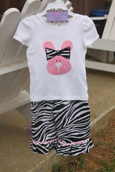 Boutique Capri Ruffle Pants Set w/ Bunny Applique (for inspiration)