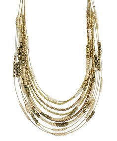 Another great find on #zulily! Goldtone & Cream Beaded Graduating Necklace by ZAD #zulilyfinds