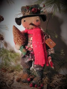 Primitive Folk Art Standing Christmas Snowman Doll~Tree~Bells~Candy Cane #NaivePrimitive #DustpanDolliesbyPaula