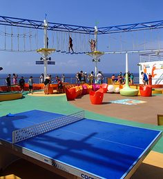 Ping-pong table below the SkyCourse on the Carnival Breeze.