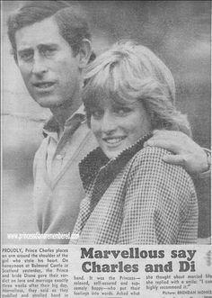 August 19, 1981: newspaper clip. Photo - Princess Diana with Prince Charles at Balmoral, their continuing honeymoon.