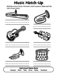 Musical Match Up Coloring Page